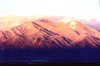 Winter Sunset on Taos Mountain, Taos Lodging, New Mexico USA